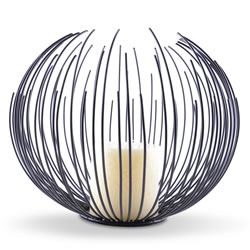 Small Image of Modern Black Finish Sea Urchin Candle Holder with Pillar Candle