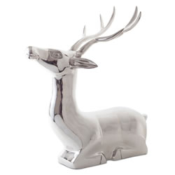 Small Image of 'Vico' Extra Large Laying Stag Silver Aluminium Christmas Feature Ornament