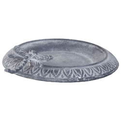Small Image of Aged Grey Cast Iron 24cm Garden Bird Bath Feeder Bowl with Dragonfly