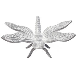 Small Image of Large 20cm Aged Grey Cast Iron Dragonfly Garden Ornament