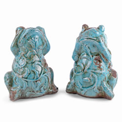 Small Image of Pair of Decorative Weathered Effect Terracotta Frog Ornaments for the Home
