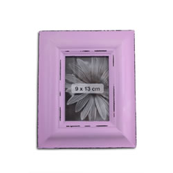 Small Image of Antique Finish Wooden Photograph Frame in Lilac for 5 x 3.5