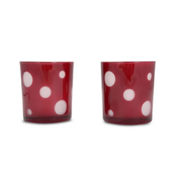 Small Image of Set of Two Red & White Spotty Glass Tealight Holders