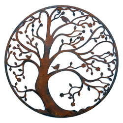 Small Image of Round Metal Tree Wall Art in Rusty Coloured Finish