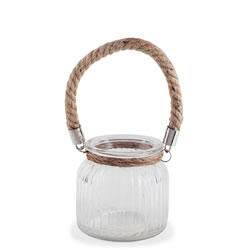 Small Image of 'Oban' 11cm Glass Windlight Candle Holder Lantern with Rope Handle