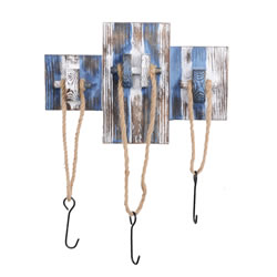 Small Image of Rustic Blue & White Wooden Nautical Triple Rope Coat Hook