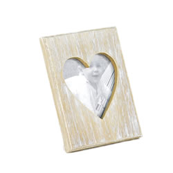 Small Image of Natural Wood Photoframe with Heart Aperture
