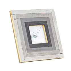 Small Image of Free Standing Rustic Finish Reclaimed Pine Wood Photoframe in Grey