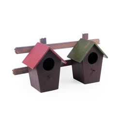 Small Image of Wall Mountable Double Wooden Bird House for the Garden
