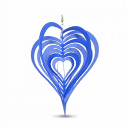 Small Image of Blue Heart Shaped Steel Garden Windspinner
