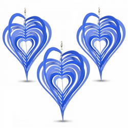Small Image of Set of Three Blue Heart Shaped Steel Garden Windspinners