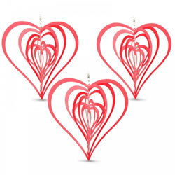Small Image of Set of Three Red Heart Shaped Steel Garden Windspinners