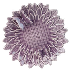 Small Image of Glazed Purple Ceramic Flower 23cm Bird Feeder Dish with Butterflies