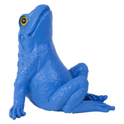 Small Image of Retro Pop Art Blue Polyresin Sitting Frog Statue Ornament