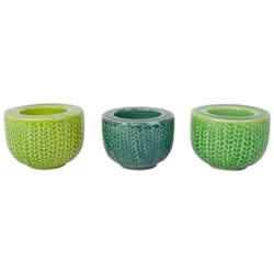 Small Image of Set of 3 Small Green Ceramic Retro Tealight Holders