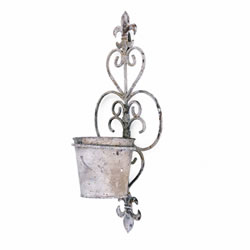 Small Image of Fleur-de-Lys Rustic Finish Wall Mountable Single Pot Planter