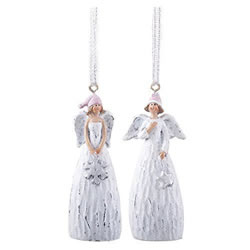 Small Image of Pair of Hanging White Christmas Angel Tree Decorations in Bobble Hats