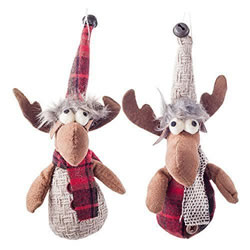 Small Image of Pair of Hanging Fabric Plush Reindeer Christmas Tree Decorations