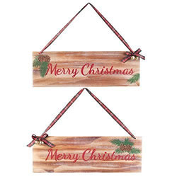 Small Image of Pair of Wooden 'Merry Christmas' Hanging Festive Plaque Signs