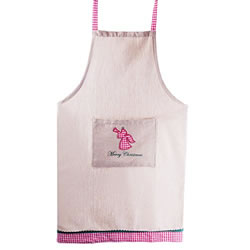 Small Image of 'Merry Christmas' Fabric Kitchen Household Apron with Angel