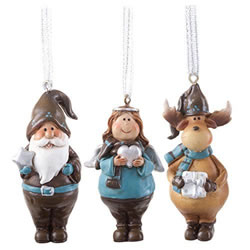 Small Image of Father Christmas, Angel & Reindeer Figurine Hanging Christmas Tree Decorations