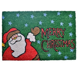 Small Image of Merry Christmas Coir Doormat for the Home with Father Christmas Design