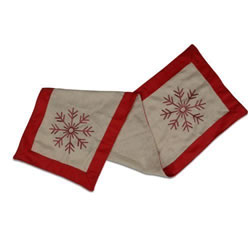 Small Image of Christmas Table Runner with Stitched Snowflake Design