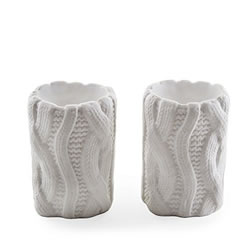 Small Image of Set of Two White Woolen Effect Tealight Candle Holders for Home Christmas Display