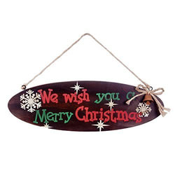 Small Image of 'Rudolph the Red Nosed Reindeer' Wooden Oval Christmas Carol Lyric Wall Sign / Plaque