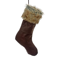 Small Image of Contemporary Felt Christmas Stocking with Faux Fur Edging