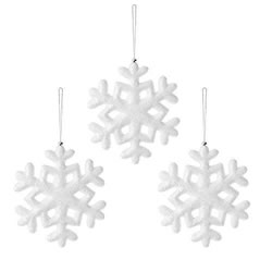 Small Image of Set of Three Frosty White 20cm Snowflake Hanging Christmas Tree Decorations