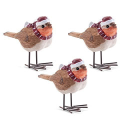 Small Image of Set of Three Christmas Winter Robin Ornaments in Hats & Scarves