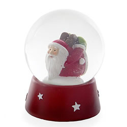 Small Image of Laying on Front Santa Claus Seasonal Snow Globe Christmas Ornament