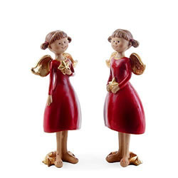 Small Image of Set of Two Standing Red Angel Figurines with Gold Stars Christmas Ornaments