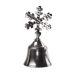 Small Image of Metal Hand Bell with Snowflake Design Handle Christmas Accessory