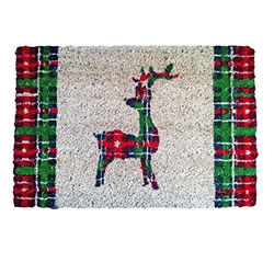 Small Image of Tartan Print Coir Doormat w/ Backward Facing Christmas Reindeer Design