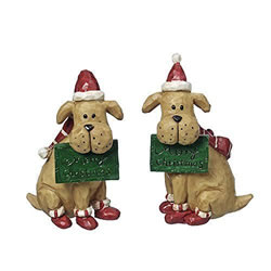 Small Image of Sitting Dog Christmas Ornaments with Festive Hat & Scarf