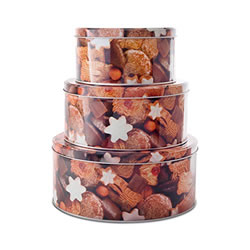 Small Image of Set of Three Round Christmas Cookie Food Storage Tins