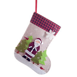 Small Image of Coloured Felt 50cm Stocking with Snowy Father Christmas Scene