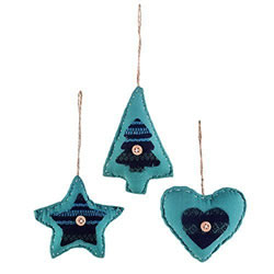 Small Image of Set Of Three Fabric Turquoise Blue Christmas Tree Decorations Heart, Star & Tree