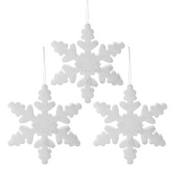 Small Image of Set of Three 30cm White Glitter Foam Christmas Snowflake Decorations