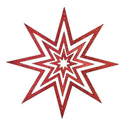 Small Image of Medium Hanging Wooden Red Glitter Christmas Star Decoration