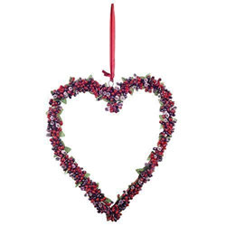 Small Image of Large Hanging Heart Christmas Decoration Wreath w/ Artificial Frosted Red Berries