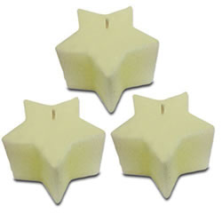 Small Image of Set of Three White Star Shaped Wax Christmas Candles