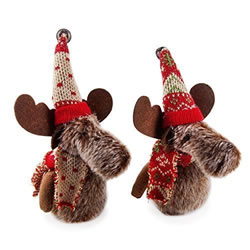 Small Image of Set of Two Fabric Moose Hanging Christmas Tree Decorations