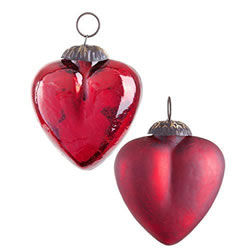Small Image of Pair of Dark Red Crackle Glass Heart Christmas Tree Bauble Decorations