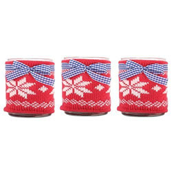 Small Image of Set of Three Large Glass Tealight Holders with Winter Snowflake Knitted Cozy