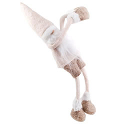 Small Image of Cream or Brown Hat Shelf Edge Hanging Fabric Father Christmas Ornaments (Cream Hat)