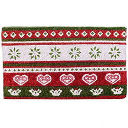 Small Image of Red, Green & White Scandi Print Christmas Coir Doormat Home Accessory