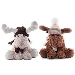 Small Image of Ruben or Reid the Large 30cm Cream or Brown Plush & Fluffy Sitting Christmas Reindeer (Set of Two)